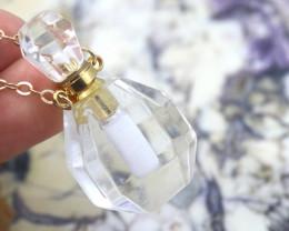 Natural Crystal Quartz Gemstone Bottle Necklace  AHA 199