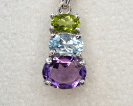 Natural Amethyst, Blue Topaz, and Green Peridot Silver Pendant
