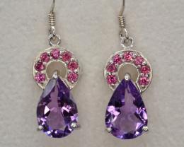 Natural Amethyst and Rhodolite Garnet Silver Earrings