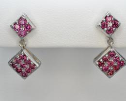 Natural Rhodolite Garnet 19.13 Cts Silver Earrings