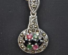 Antique Style Multi Stone Silver Pendant