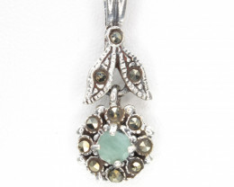 Antique Style Emerald Silver Pendant