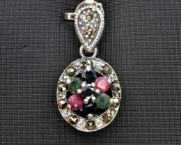 Antique Style Multi Stone Silver Pendant