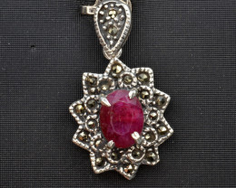 Antique Style Ruby Silver Pendant