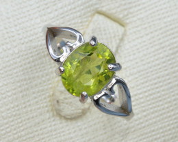Natural Green Peridot 14.37 Cts CZ and  Silver Ring