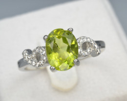 Natural Green Peridot 15.21 Cts CZ and  Silver Ring