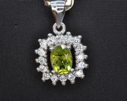 Natural Green Peridot 16.08 Cts CZ and  Silver Pendant