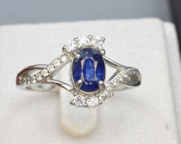 Natural Sapphire 14.42 Cts CZ and Silver Ring
