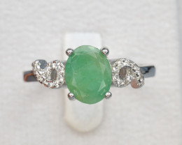 Natural Emerald 15.44 Cts CZ and Silver Ring