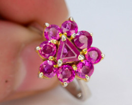 22.70 Ct Silver Ring ~ 2.50 Ct VIVID PINK Sapphire ~Ring