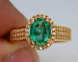 16.20 Ct Gold Ring ~ 0.95  Ct Zambian Emerald ~Ring
