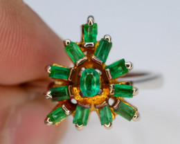 28.70 Ct Silver Ring ~ 1.10 Ct Emerald ~Ring~21 k Gold