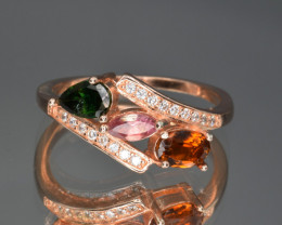 Natural Tourmaline , CZ and 925 Silver Ring