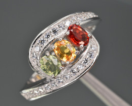 Natural Multi Sapphire , CZ and 925 Silver Ring