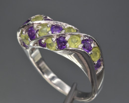 Natural Amethyst , Peridot  and 925 Silver Ring