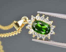 Natural Green Chrome Diopside , CZ  and 925 Silver Pendant with Chain