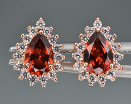 Natural Blue Rhodolite Garnet  , CZ and 925 Silver Earrings
