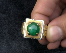 80 Ct Natural Green Transparent Emerald Cab Solid Sliver With Brass Ring