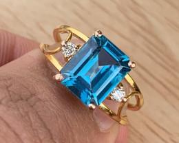 18k Natural Blue topaz and Diamond Ring.
