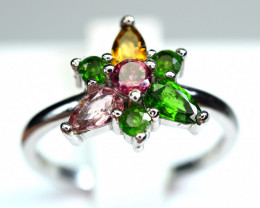 Natural Multi Tourmaline,Chrome Diopside 925 Silver Ring