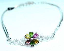 Natural Multi Tourmaline ,Diopside 925 Silver nice shape Bracelet