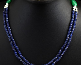 Genuine 130.00 Cts Iolite & Onyx  Necklace