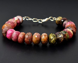 Faceted watermelon Tourmaline  Beads Bracelet