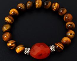 Tiger Eye & Carnelian Stretchable  Beads  Bracelet