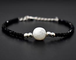 Faceted Spinel & Moonstone  Beads  Bracelet