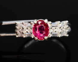 21.30 Ct Silver Ring ~ With Natural Rubylite Tourmaline Stone