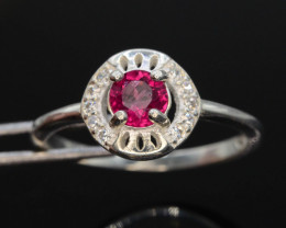 8.90 Ct Silver Ring ~ With Natural Rubylite Tourmaline Stone