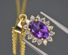 Natural Amethyst, CZ   and 925 Silver Pendant with Chain