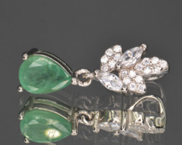 Natural Emerald ,CZ  and 925 Silver Pendant