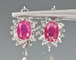 Natural  Ruby , CZ and 925 Silver Earrings