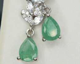 Natural Emerald , CZ and 925 Silver Earrings