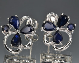 Natural Sapphire  and 925 Silver Earrings