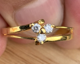 Natural Diamonds Ring Gold platted TCW 0.20.