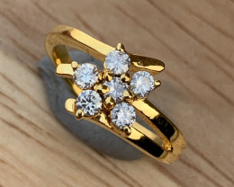 Natural Diamonds Ring  Gold platted  TCW 0.41.