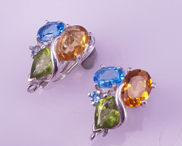 Natural Peridot With Topaz And Citrin Earrings