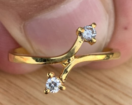 Natural Diamond Ring gold plated TCW 0.14.