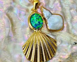 Australian  Seashell Opal & Fresh water  keishi Pearl Pendant code CCC 1312