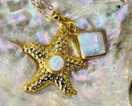 Australian Seashell Opal & Pearl Pendant code CCC 1313