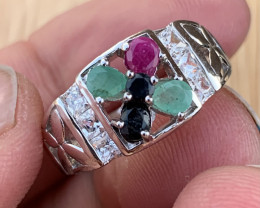 Natural Emerald, Ruby and Sapphire Ring.