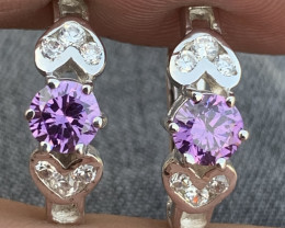 Natural Amethyst with CZ Ear studs.