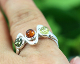 Natural Baltic Amber Sterling Silver Ring size 7 code GI 117