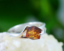 Natural Baltic Amber Sterling Silver Ring size 8 code GI 131