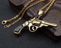 Gun Pendant -Gold plated Titanium code CCC 1337
