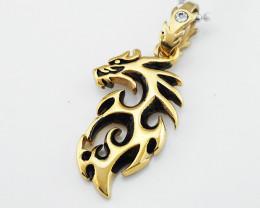 Dragon  Pendant -Gold plated Titanium code CCC 1344