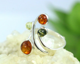 Natural Baltic Amber Sterling Silver Ring size 7 code GI 140