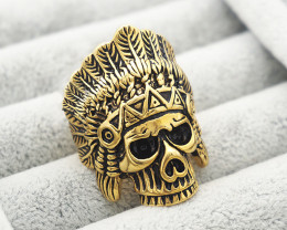 Skull chief Ring -Gold plated Titanium size 8 code CCC 1348